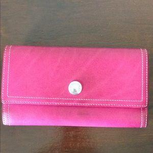 Fuchsia Trifold Coach Wallet